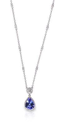 Blue-Gemstone-and-Diamond-Pendant-Necklace