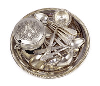 Old-antique-silverware,-isolated-white-background