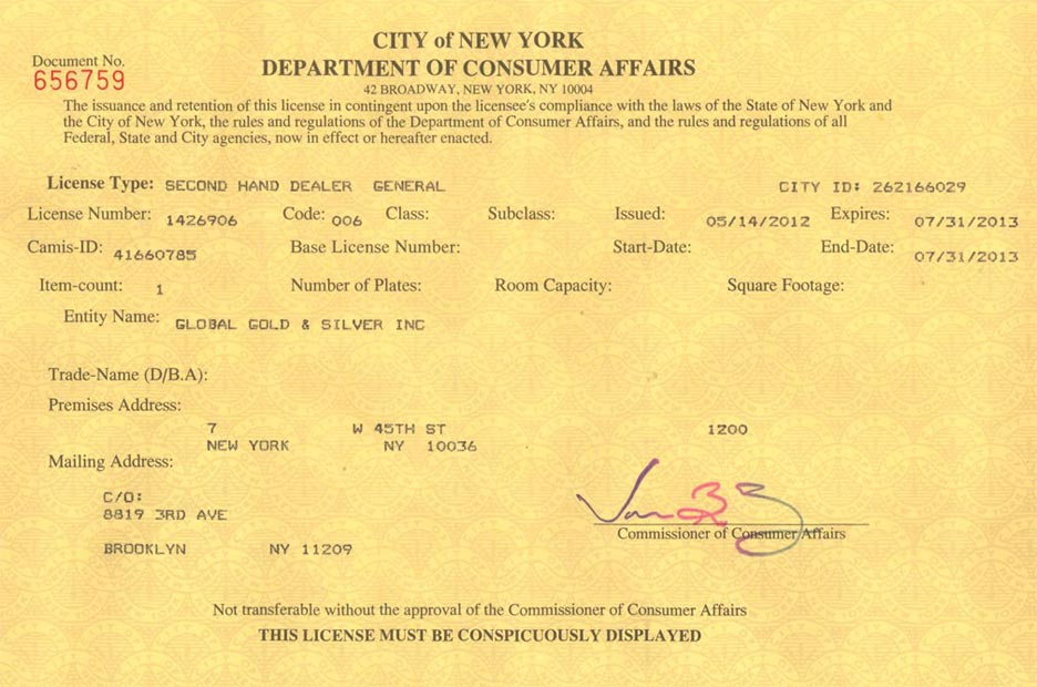 DCA License - Manhattan